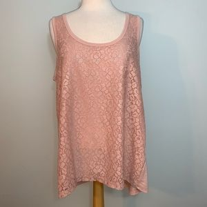 Light pink cream lace overlay tank